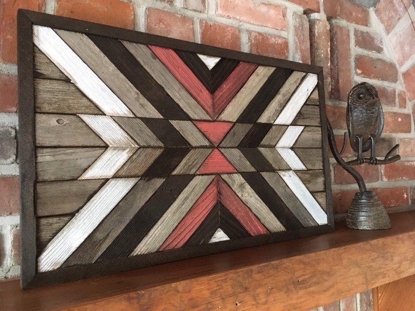 Reclaimed wood wall art - Southwestern wood wall art - Navajo Aztec inspired #reclaimedwoodwallart