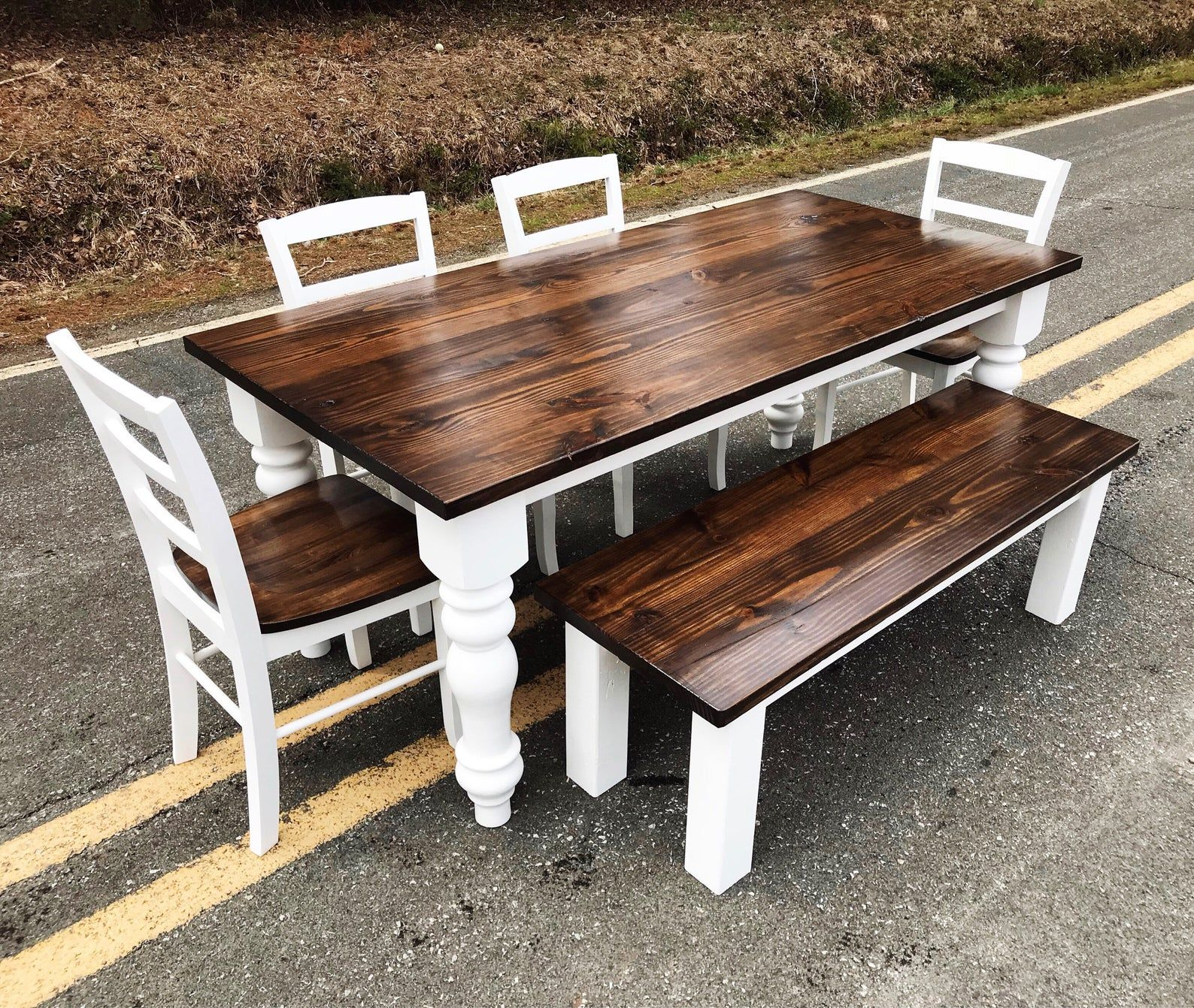 Chunky Leg Farm House Style Kitchen Table Pine Kitchen And Etsy Kitchen Table Settings Round Dining Room Round Dining Room Table