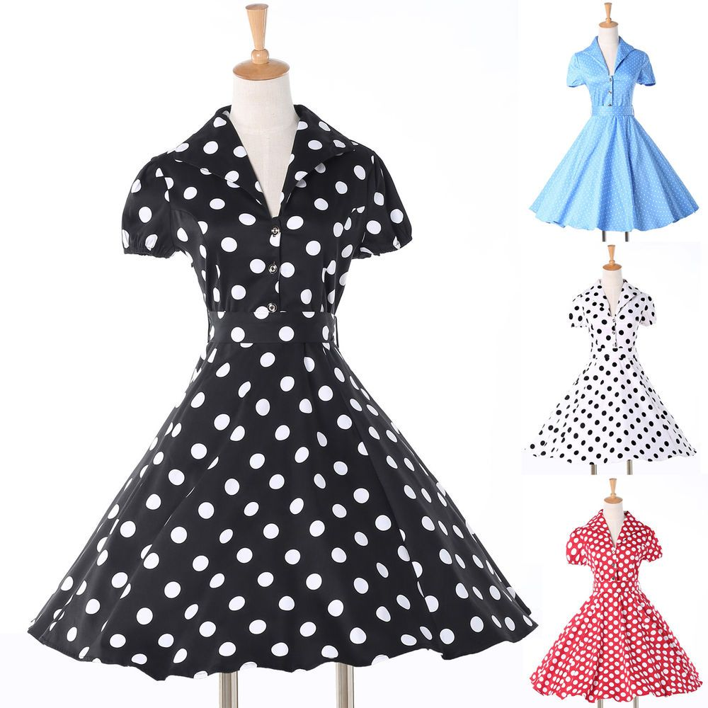 100% Cotton Vintage Polka Dots Rockabilly Retro Swing 50s pinup Housewife Dress #GraceKarin #VintageDress #Casual