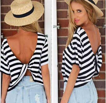 $21.00 | Sexy stripe short sleeved T-shirt ESH62HT