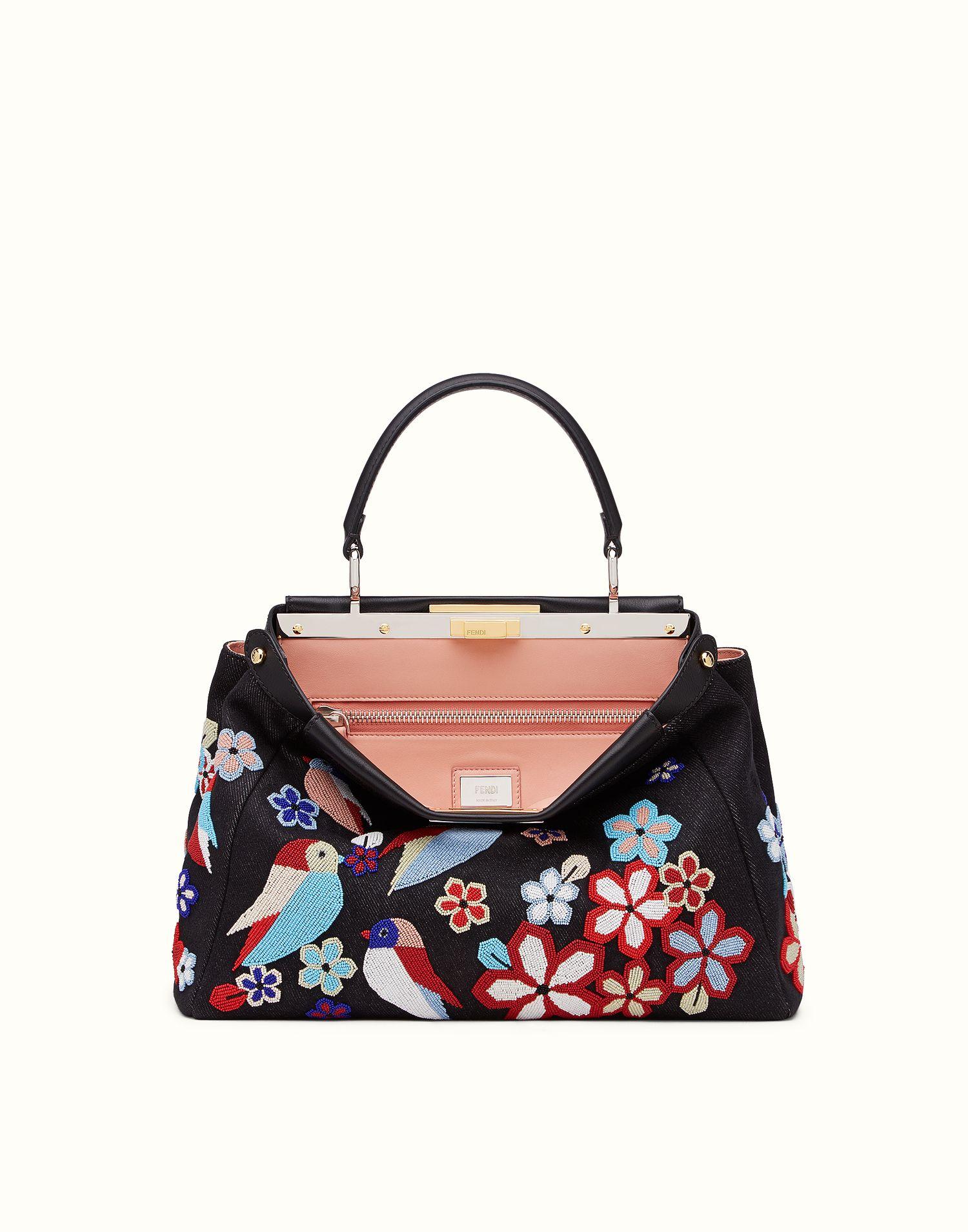 Fendi regular peekaboo handbag with embroidered denim