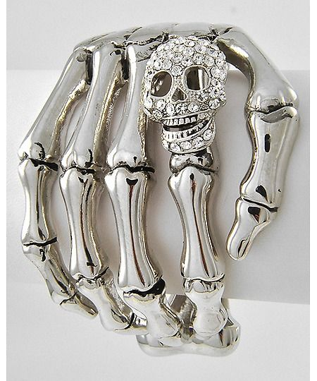 I kind of really want this! $20 seems pretty reasonable to me.  Antique Silver Tone / Clear Rhinestone / Lead&nickel Compliant / Halloween / Skeleton Hand Motif / Fold-over Bracelet