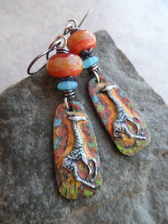 Safari artisan made colorized pewter giraffe lampwork and sterling rustic boho colorful - Safari murano jewelry ...