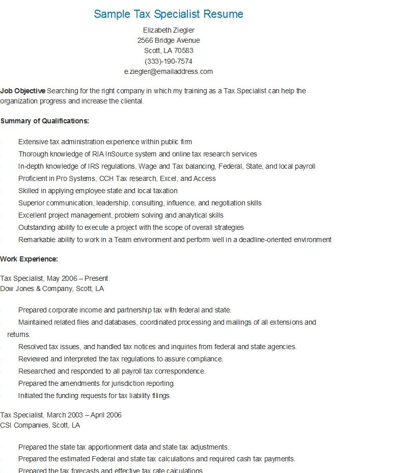 Sample Tax Specialist Resume  Resame