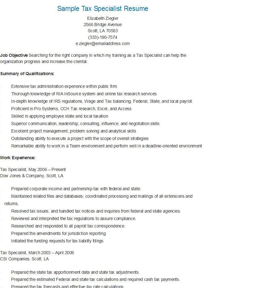 Sample Tax Specialist Resume resame Pinterest Resume - sonographer resume