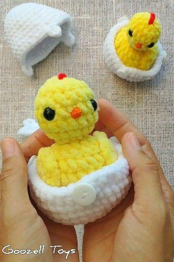 CROCHET CHICKEN PATTERN, Amigurumi egg surprise, Amigurumi crochet easter chick in egg, Easy Crochet