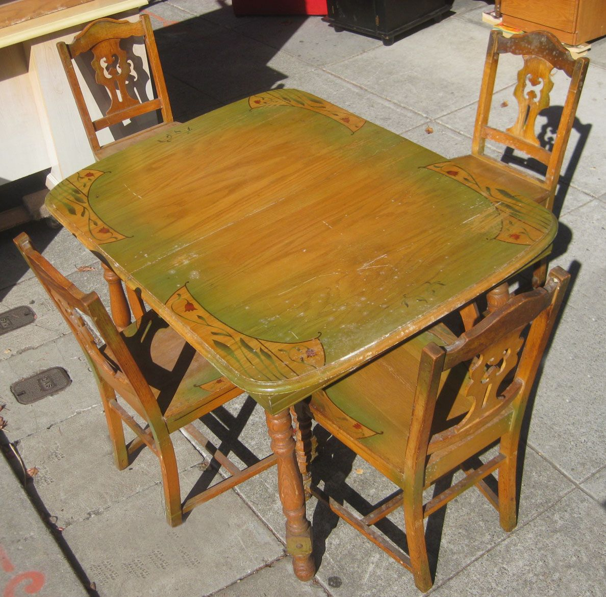 Oak Kitchen Table And Chairs Kingston Brass Faucet In 1940s Collectibles Sold