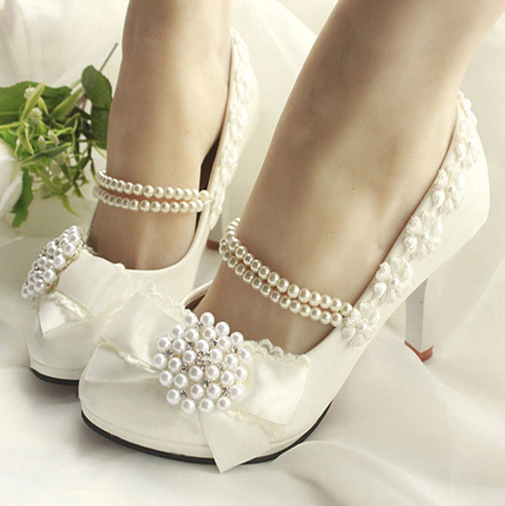 Wedding shoes for lace dress  Women Princess Romantic With Pearls Across Ankle High Heel Bridal