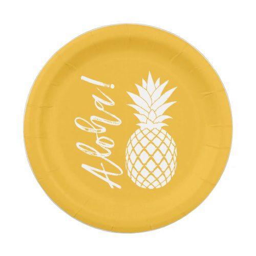 Aloha Pineapple Beach Party Luau | yellow white Paper Plate  sc 1 st  Pinterest & Aloha Pineapple Beach Party Luau | yellow white Paper Plate | White ...