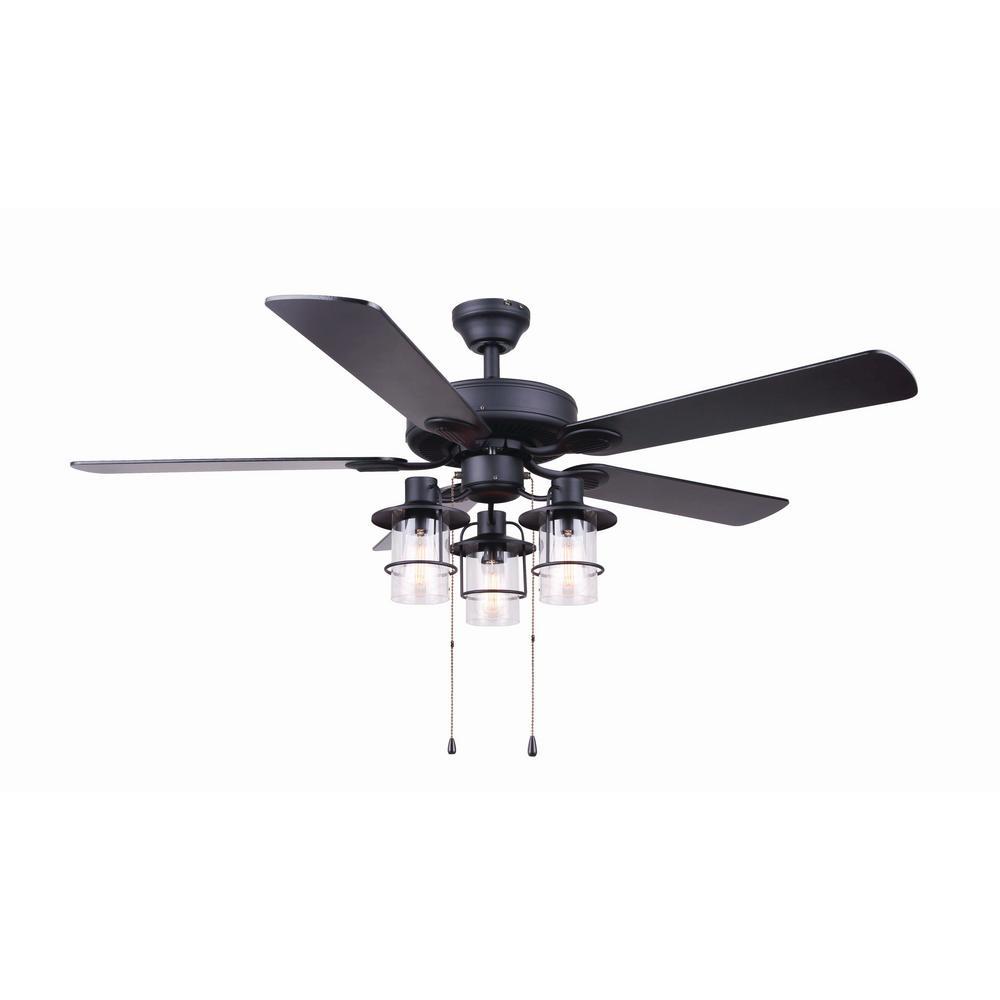 Canarm Catena 52 In Matte Black Ceiling Fan With Light Kit