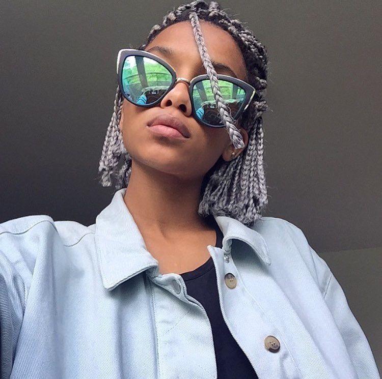 short silver box braids afro hair