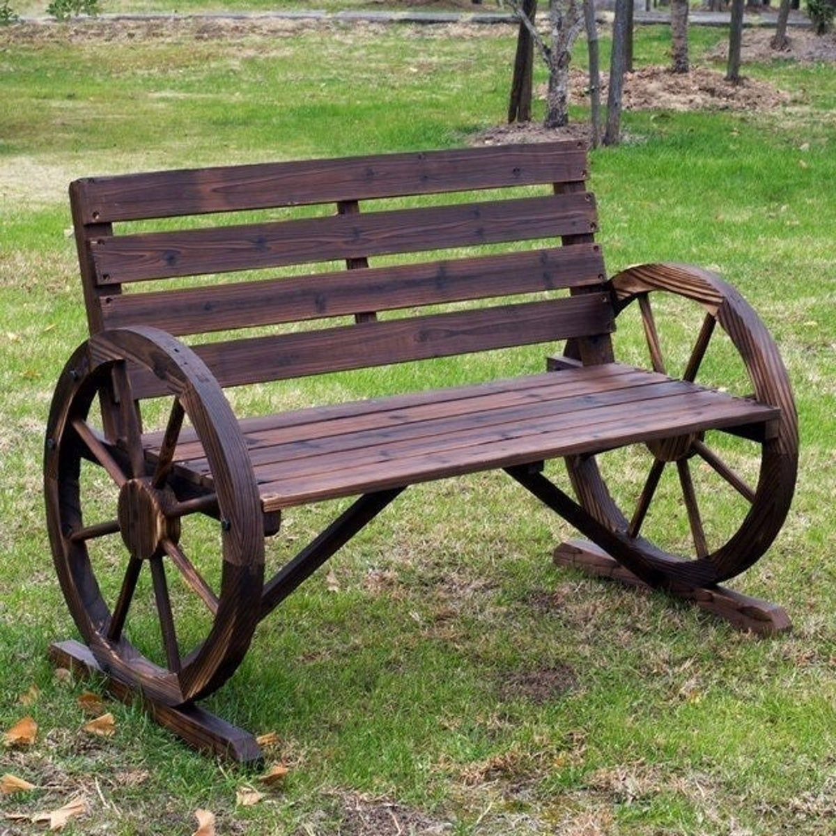 Wooden Farmhouse Bench Decor Rustic Wagon Wheel Bench Wooden Wagon Wheels Wooden Wagon