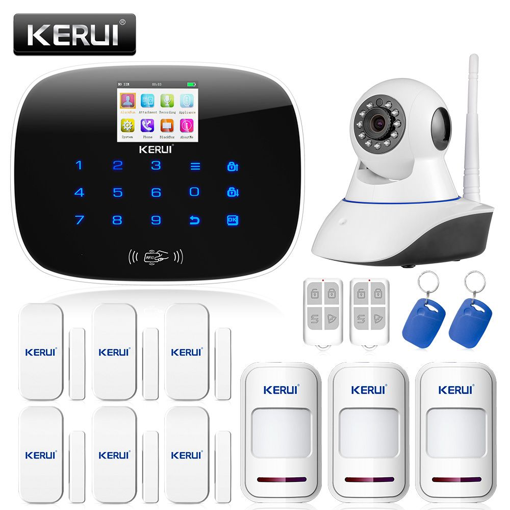 New Kerui G19 Gsm Sms Call Rfid Home House Burglar Alarm System Security Black
