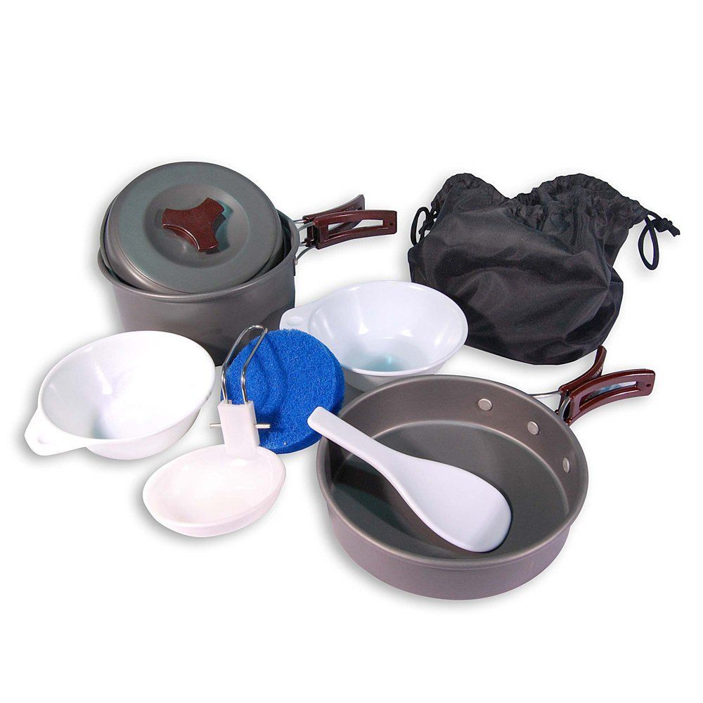 Portable CAMPING COOK SET - Anodised Aluminium Outdoor Cookwear Cooking Kit @ Cookware4Outdoors.com
