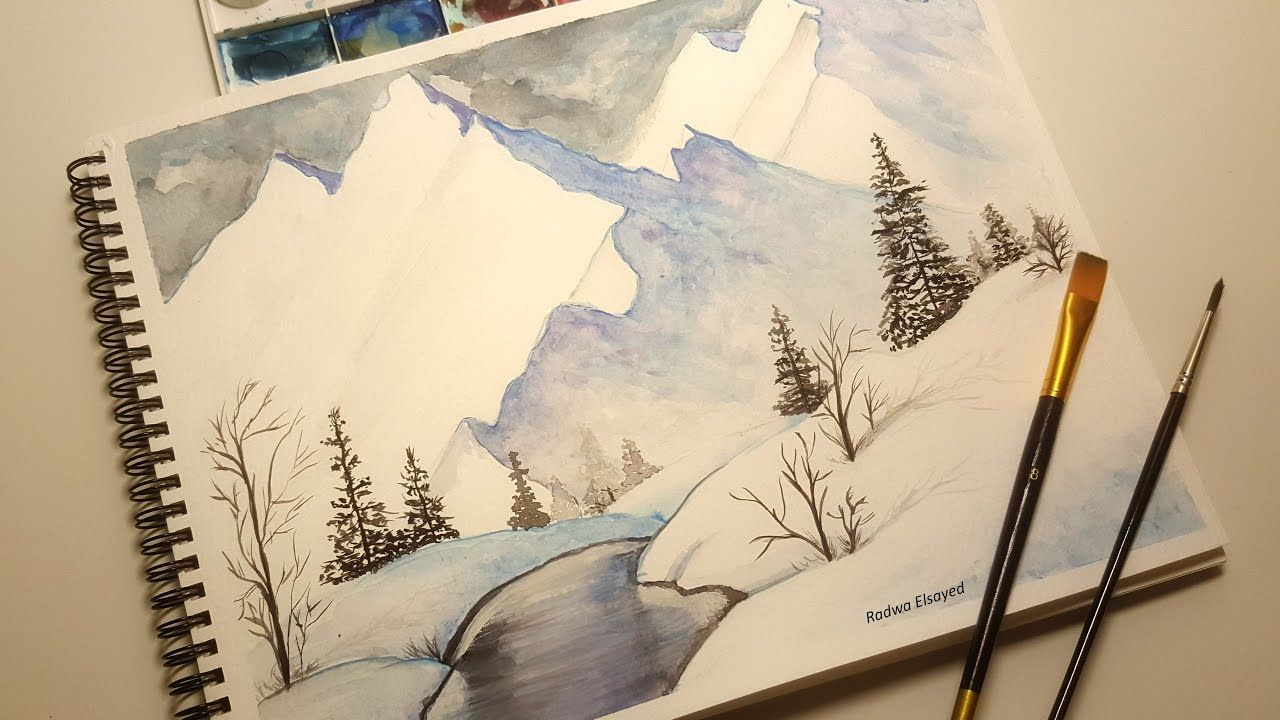 Watercolor Snowy Mountains Scene Watercolor Easy Tutorial