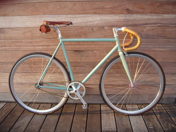Hipsterbike With Hand Laced Deer Hide Handle Bars