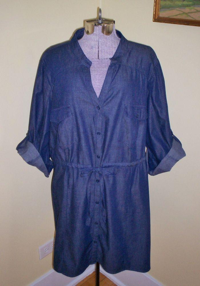 cc75db55710 Women s Plus Size 26 28 Lane Bryant Cotton Top Shirt Blouse 58