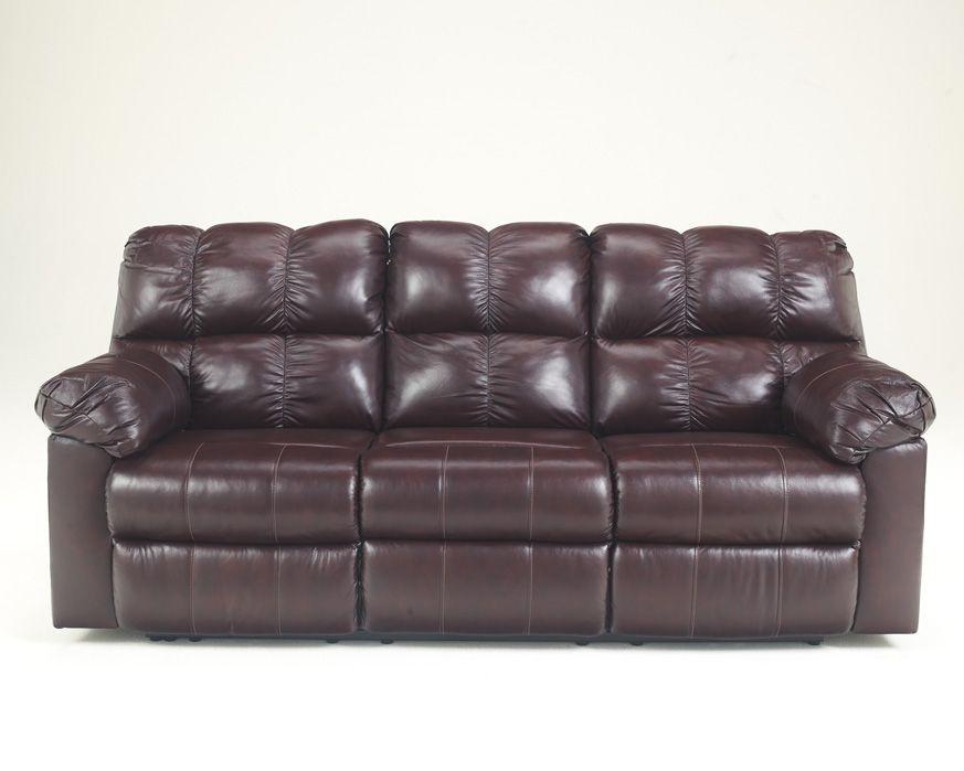 Reclining Leather Sofa w/Power 2900087 Kennard-Burgundy, Furniture Factory�