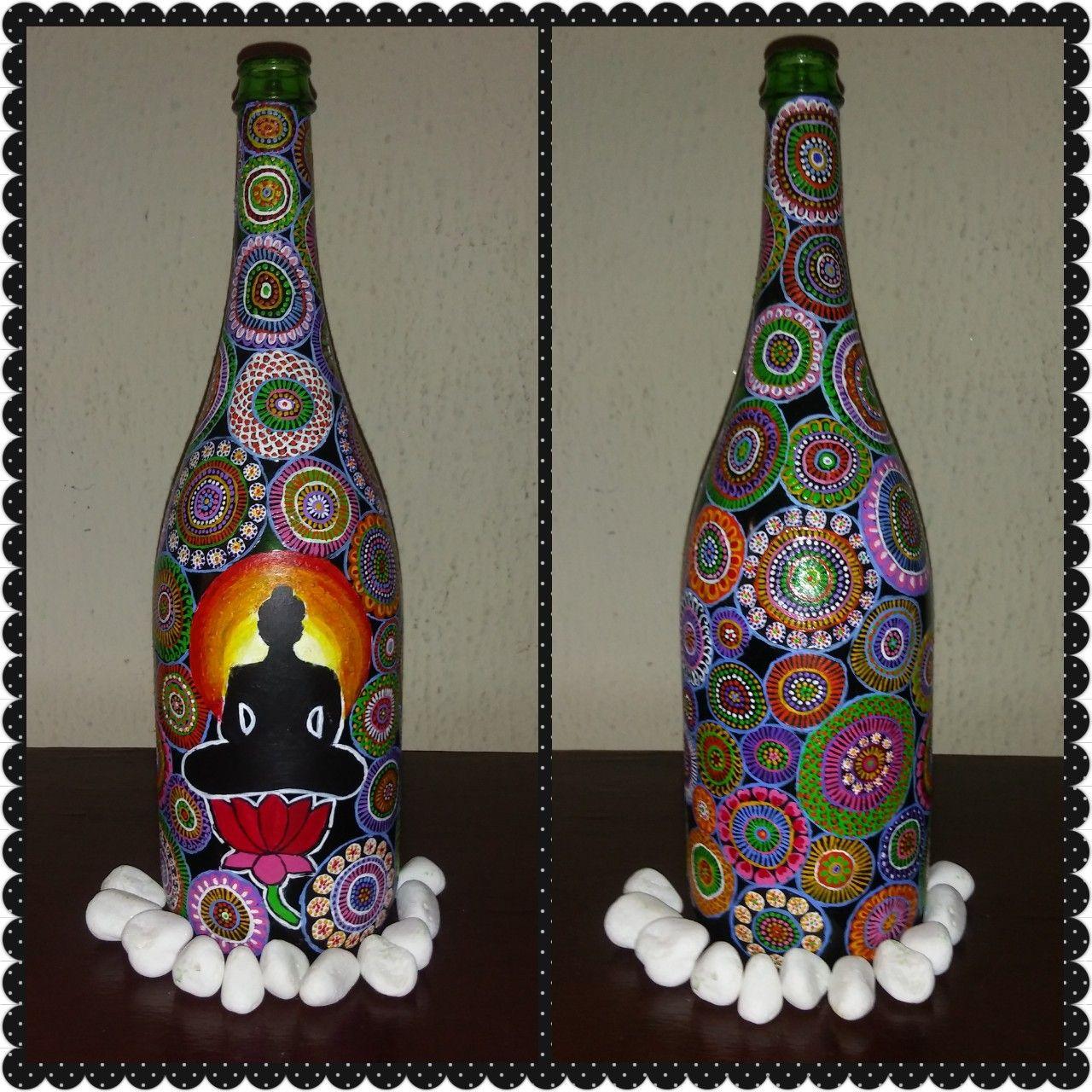 Buddha On Bottle Bottle Painting Art N Craft Bottle Art
