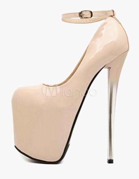 Chaussures plate-forme or à talon aigu en PU avec boucle