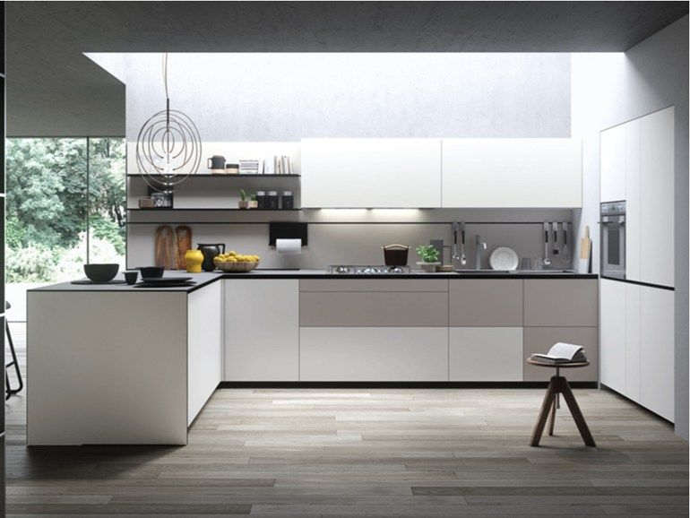 Fitted kitchen with peninsula FORMA MENTIS - ANGEL SKIN by VALCUCINE  주방  Pinterest