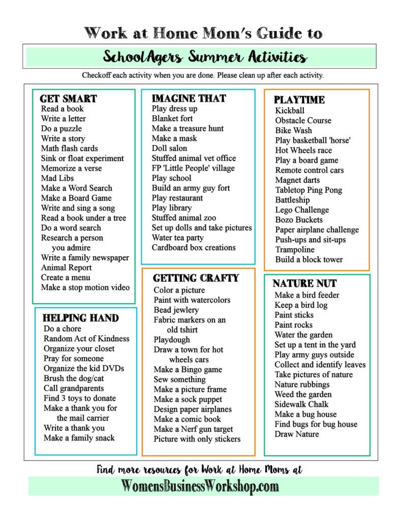 Work at Home Mom\'s Summer Activities for Kids   Kids checklist ...