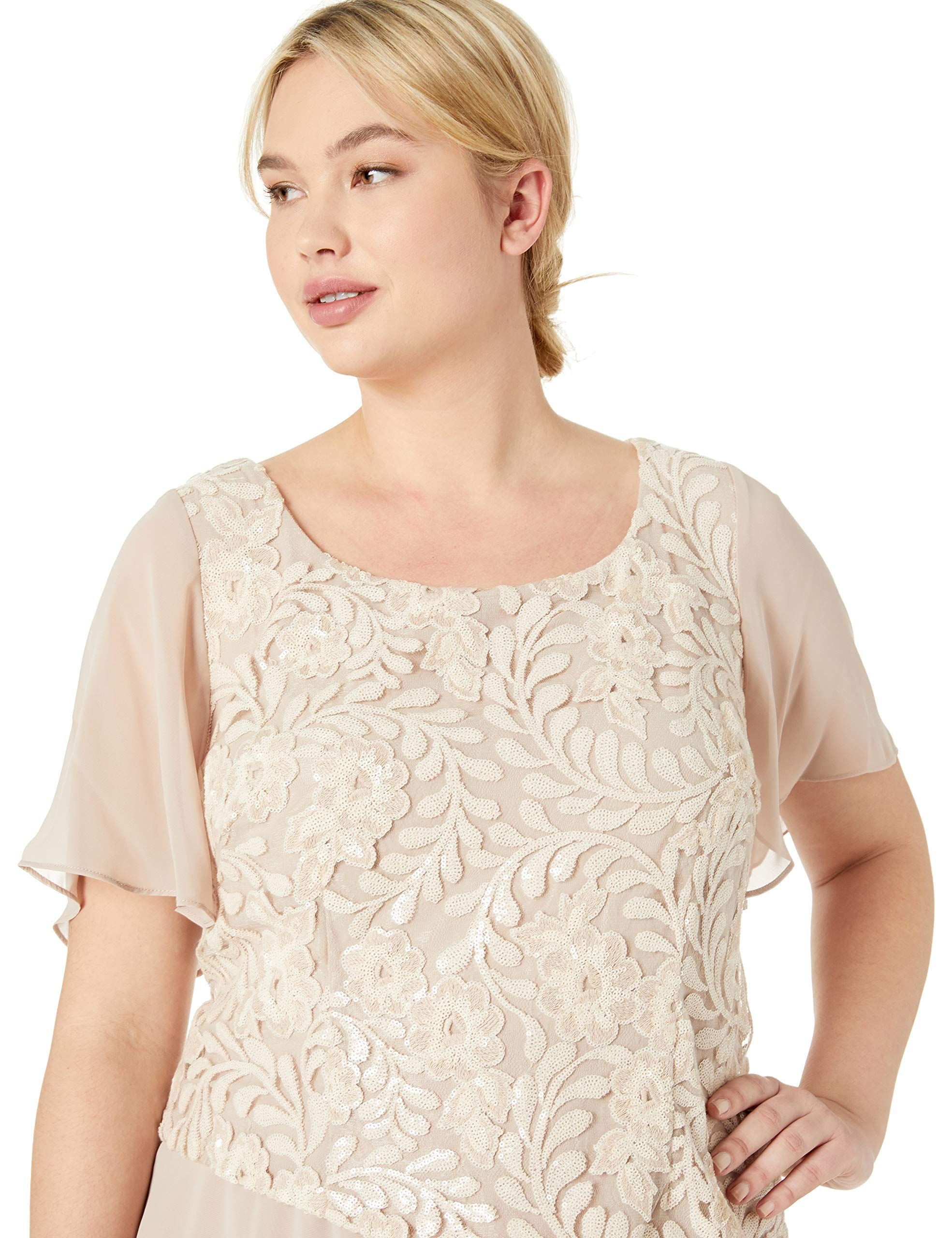 7280650c06ee Le Bos Women's Plus Size Sequin Embroidered Tiered Long Dress ...