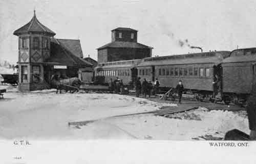 WATFORD, Ontario - Grand Trunk Railway depot old pc