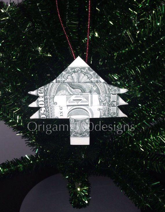 Money Origami Christmas Tree Ornament