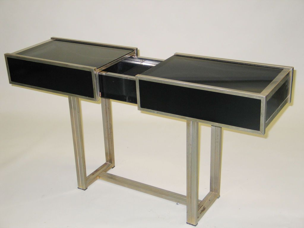 Italian mid century modern expandable console bar attributed to expandable console sofa table attributed to willy rizzo from a unique collection of antique geotapseo Images