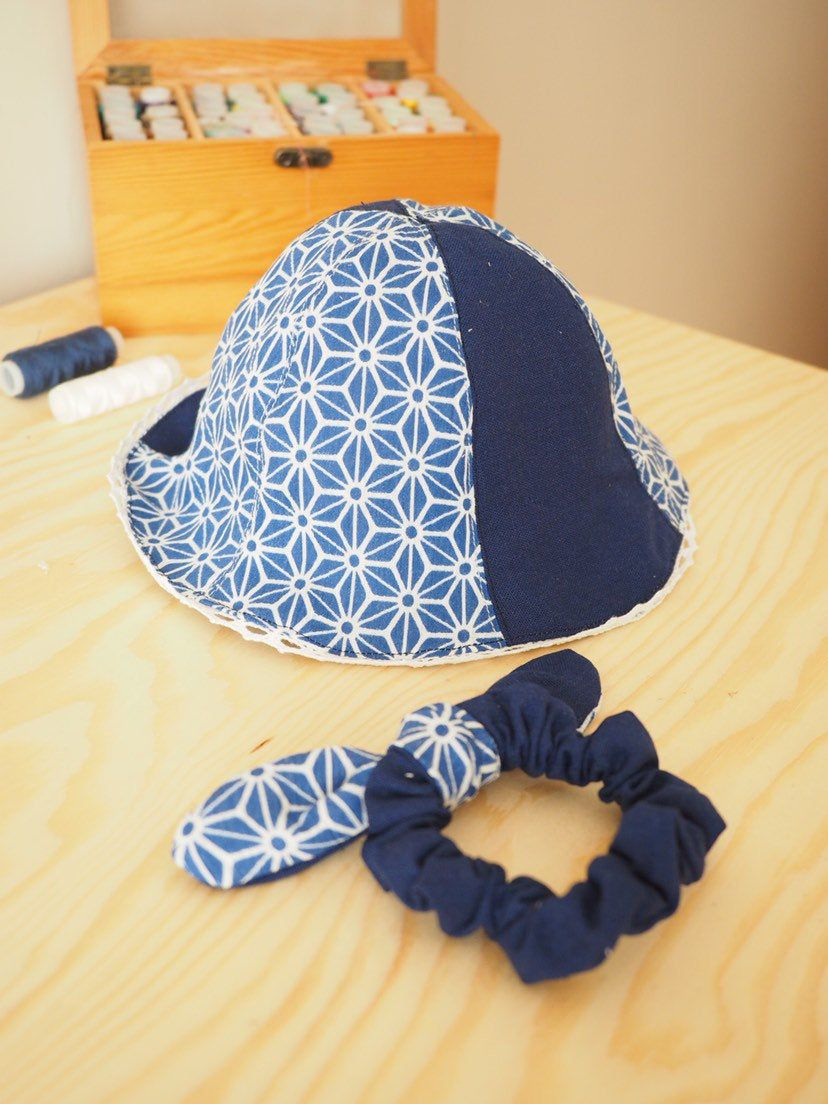 Handmade reversible Blue Japanese Floral sun protection