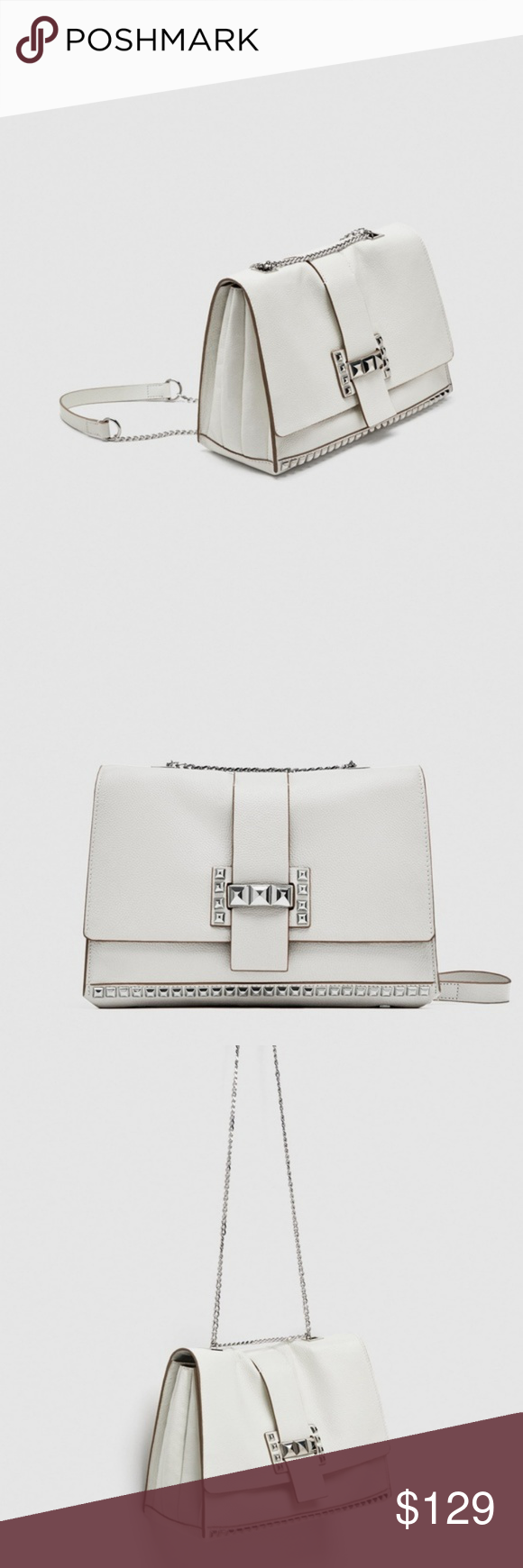 Zara Studded Leather Crossbody White Silver Bag Brand new with tag  attached, Authentic Zara. d39c830e94