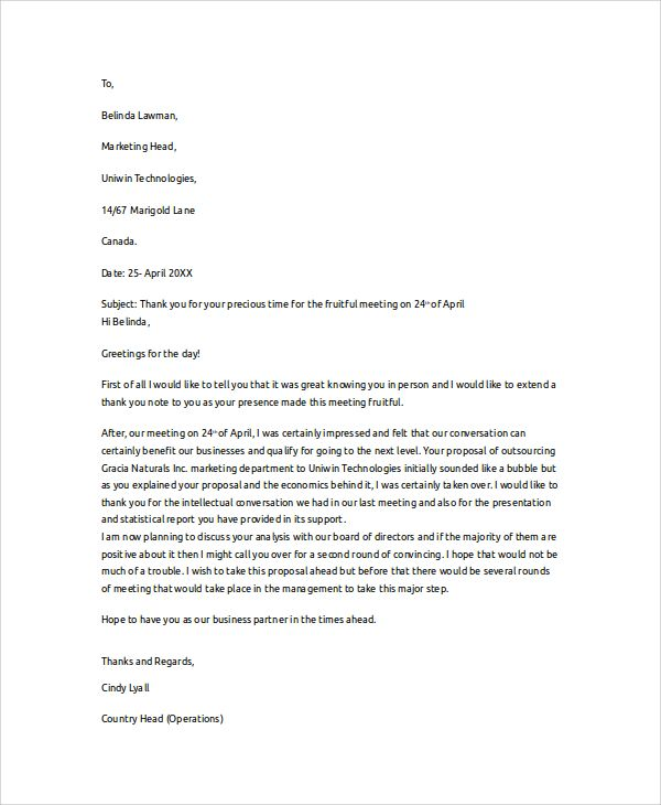 Sample Thank You Letter Documents Pdf Word Business Template