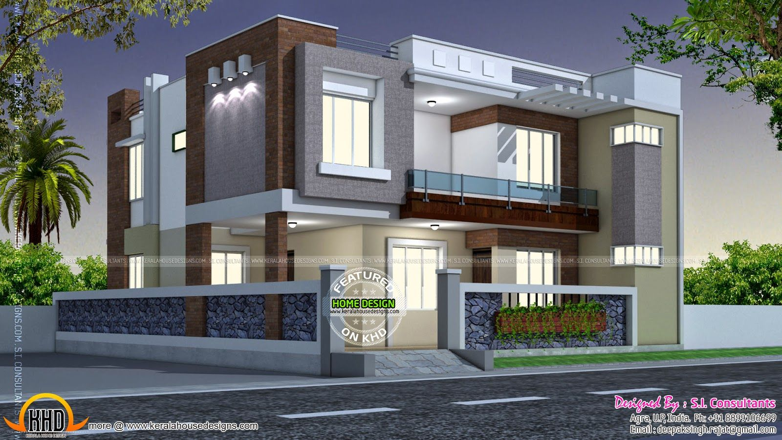 Modern Style Indian Home Square Feet Modern Contemporary