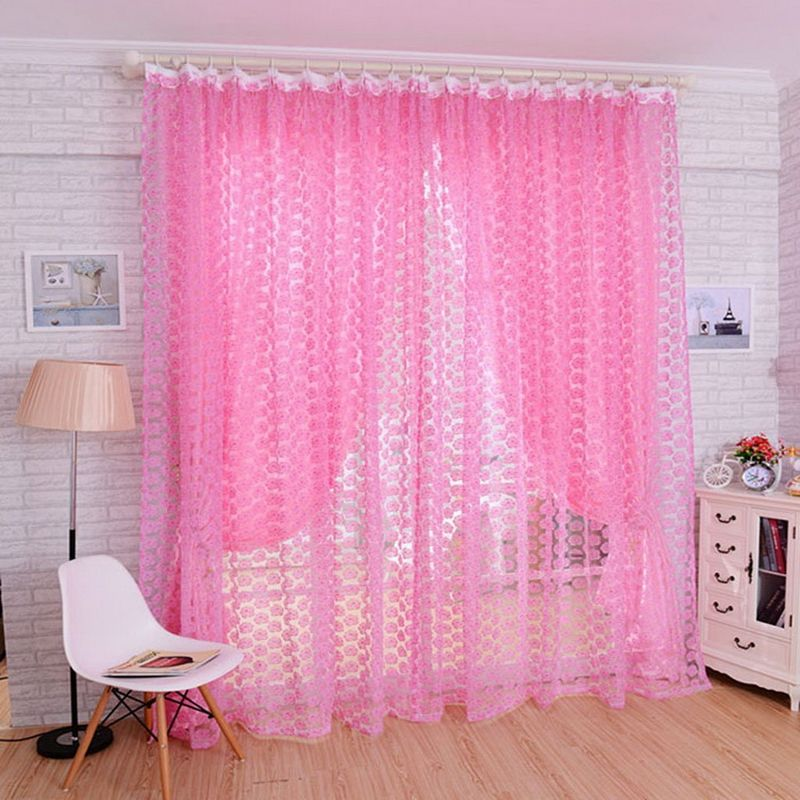 1pcs Rose Pattern Tulle Door Window Divider Voile Drape Curtain ...