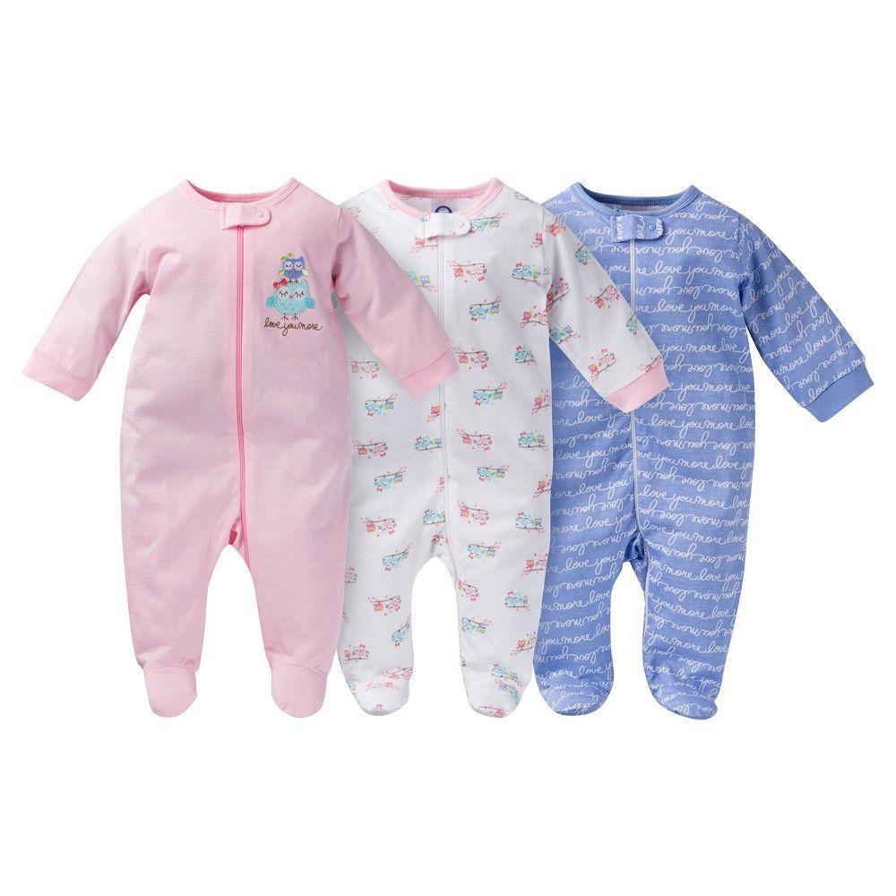 723df304a3d0 Gerber Baby Sleep N  Play Full Body Sleepwear - Owl Print Pink 42435 ...