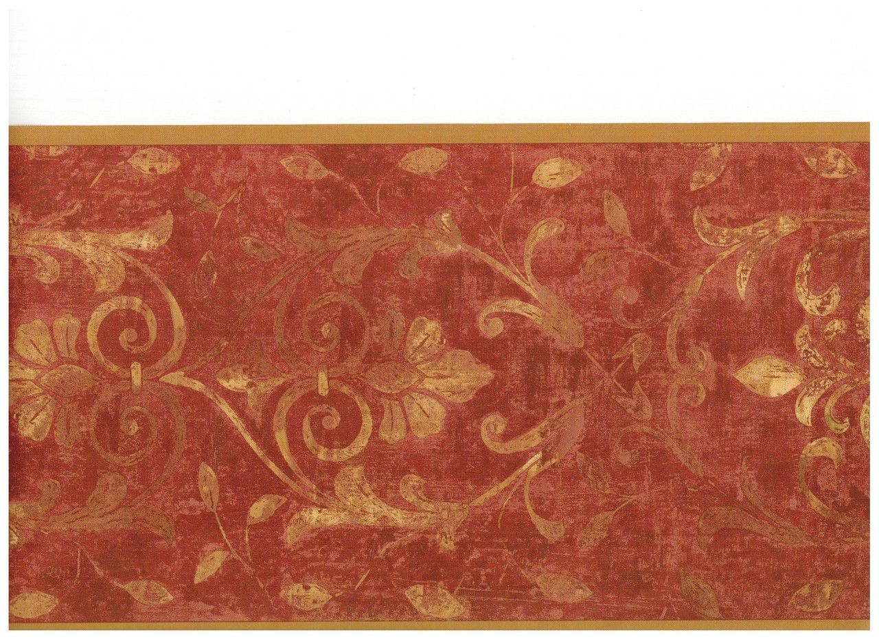 Burgundy Gold Antique Scroll Wallpaper Border By York