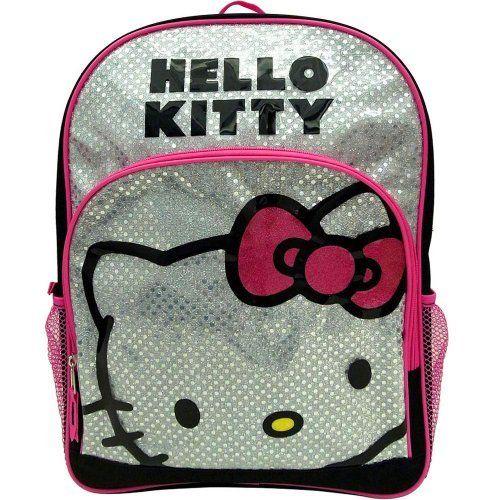 "HELLO KITTY BACKPACK BLACK /& WHITE STITCH w// PINK BEAR SCHOOL BAG SANRIO 16/"""