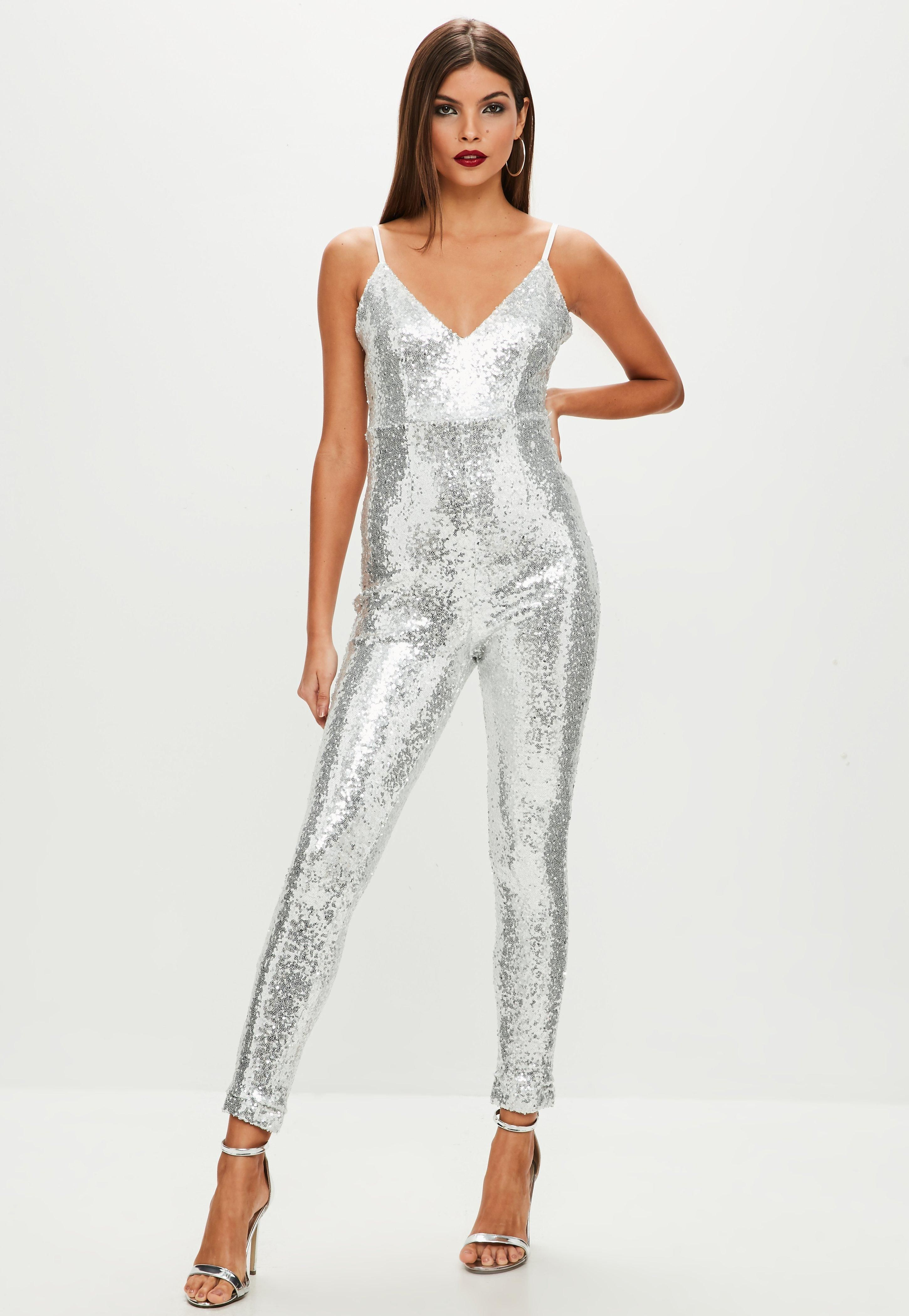 c9b34eb1e4 Missguided Silver Sequin Unitard Jumpsuit ---- Taina Duarte ----
