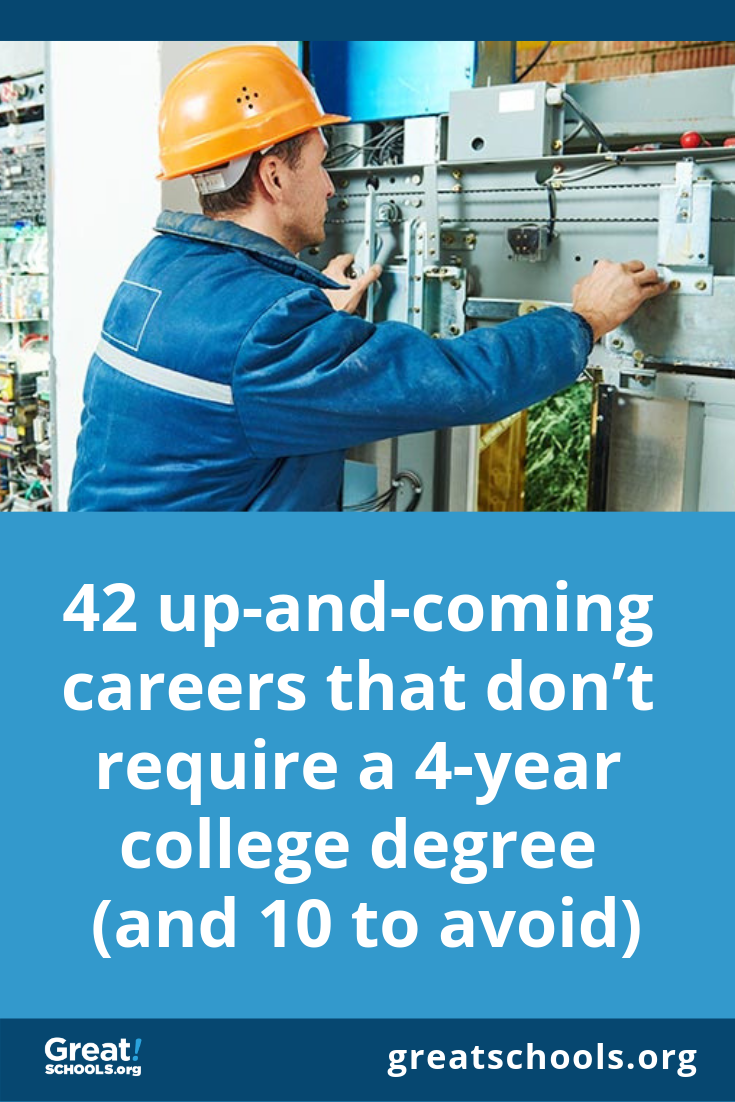 42 Up And Coming Careers That Don T Require A 4 Year College Degree And 10 To Avoid College Degree Apprenticeship Career School Jobs