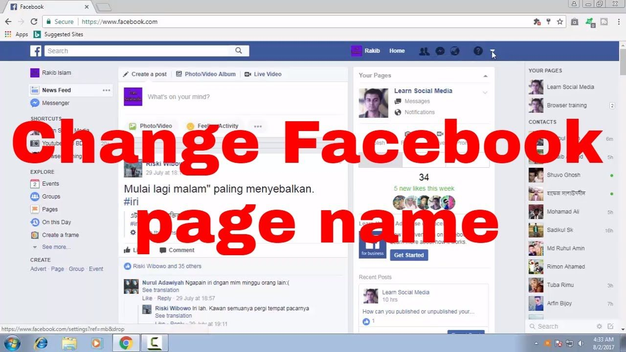 How To Edit Change Facebook Page Name By Facebook Naming Tips Fb Tips 101 Learn Social Media Marketing Solution Digital Marketing Solutions
