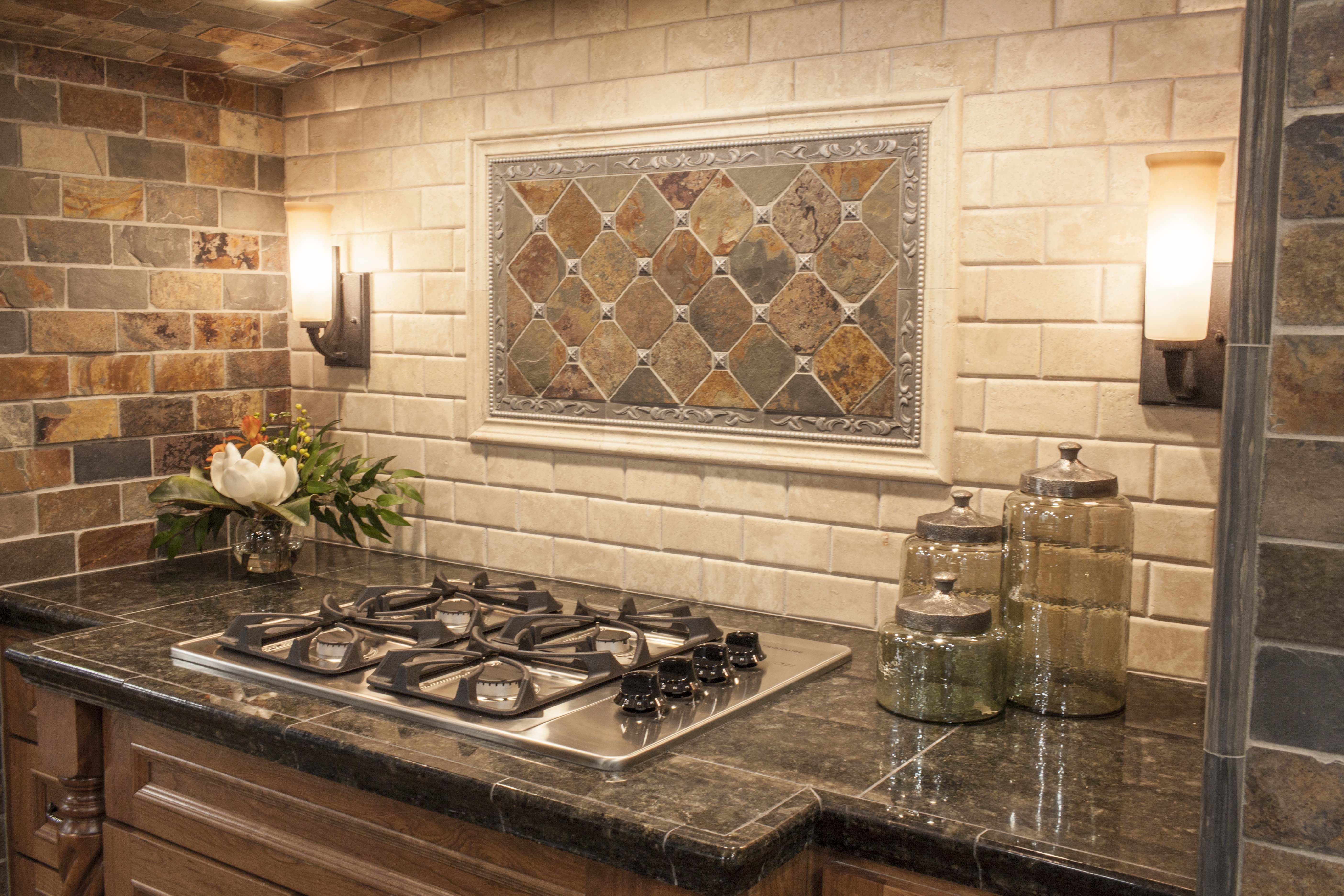Modern Yet Rustic This Hearth Style Backsplash Features Slate Subway And Pillowed Travertin Rustic Kitchen Backsplash Modern Kitchen Backsplash Rustic Kitchen