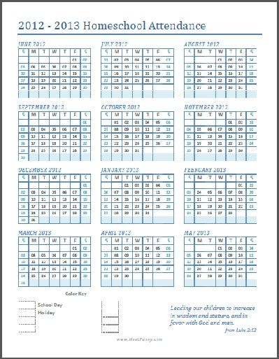 Free Printable Homeschool Attendance Calendar  Calendar June