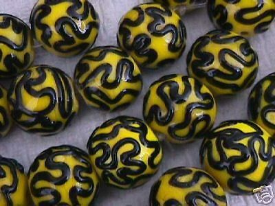 Yellow Black Iced Focal Point Lampwork Beads 20mm