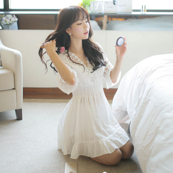 White Girl Fashion: Cute White Dress #asian #korean #fashion