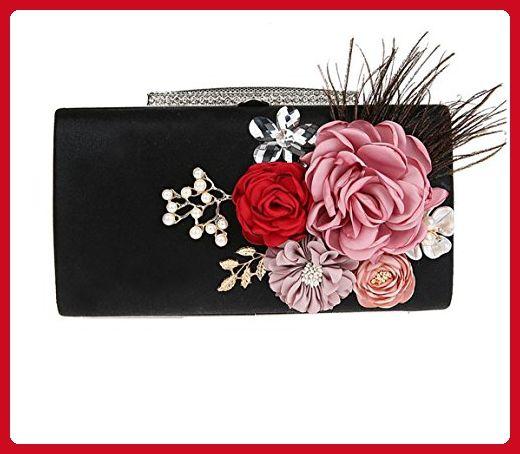 2017 Flower Clutch Hand Beaded Party Rhinestone Studded Handbag Evening Bag Bridal Bridesmaid Purse (Black) - Evening bags (*Amazon Partner-Link)