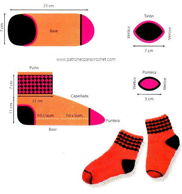 moldes y medidas de calcetines tejidos con ganchillo | Crochet ...