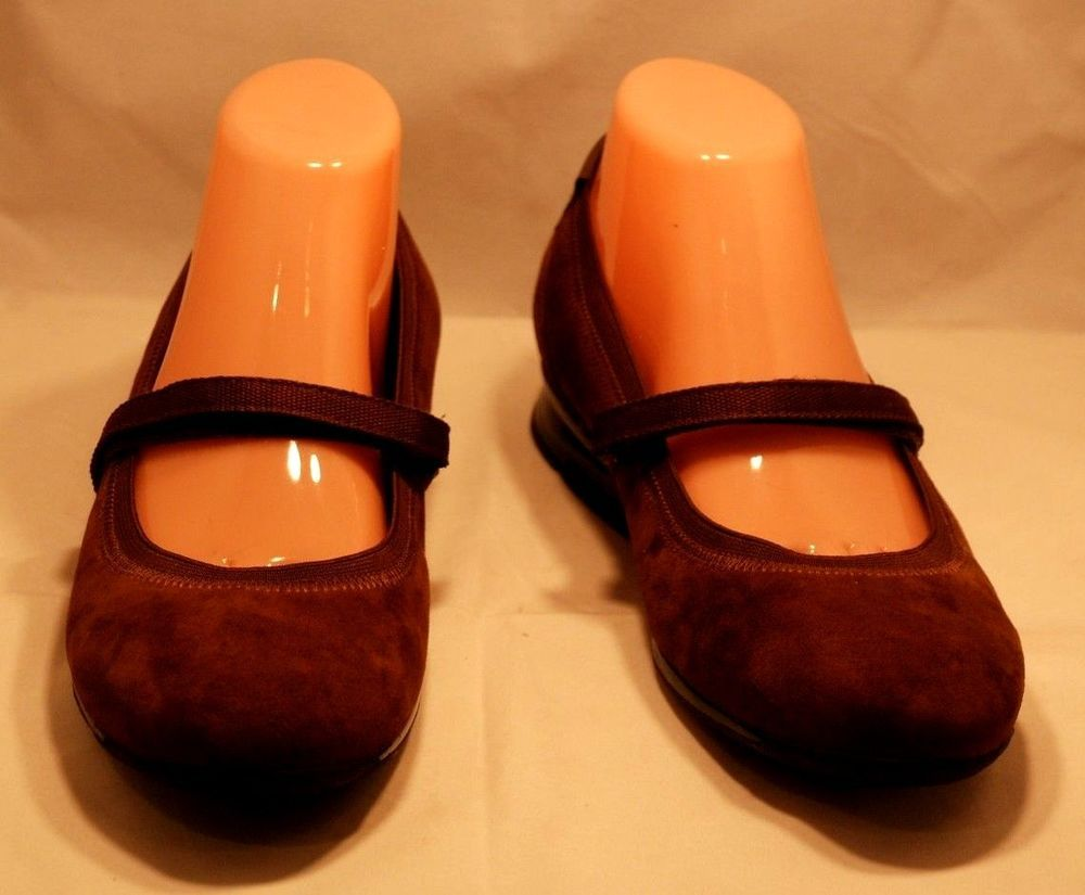 Aetrex Womens Caroline Size 9 m Strappy Flats Brown Leather Shoes Mary Janes #Aetrex #MaryJanes