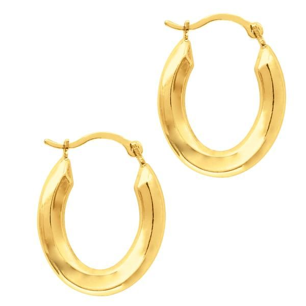 10K Yellow Gold Shiny Oval Shape Hoop Earrings - JewelryAffairs  - 1