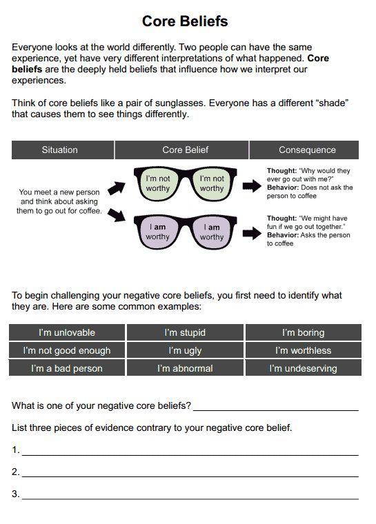 Core Beliefs Worksheet Emotion And Self Regulation Pinterest